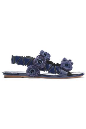 TORY BURCH Fringed eyelet-embellished patent-leather sandals