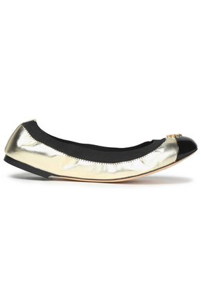 TORY BURCH Two-tone metallic leather ballet flats