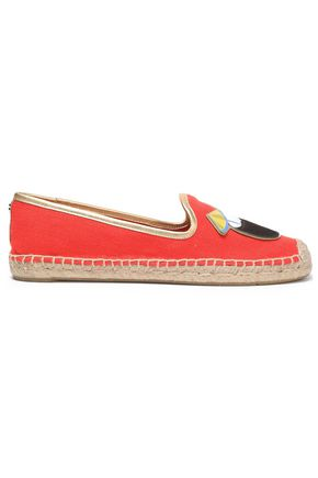 TORY BURCH Parrot leather-appliquéd canvas espadrilles