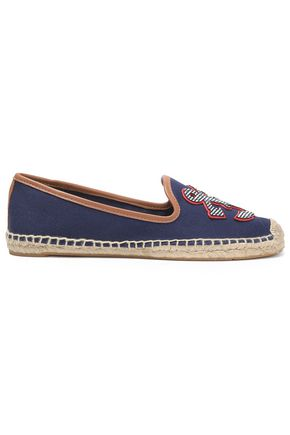 TORY BURCH Leather-trimmed appliquéd canvas espadrilles