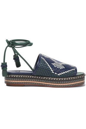 TORY BURCH Lace-up woven leather platform sandals