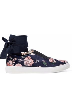 MOTHER OF PEARL Grosgrain-trimmed embellished printed velvet slip-on sneakers