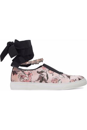 MOTHER OF PEARL Embellished printed velvet lace-up slip-on sneakers