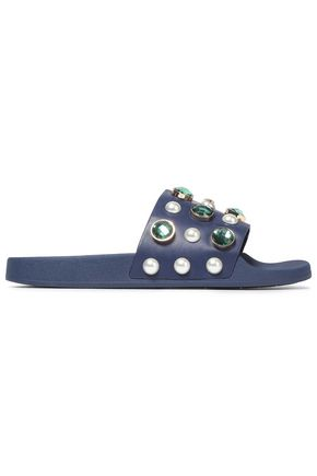 TORY BURCH Embellished leather slides