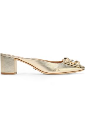 TORY BURCH Crystal and faux pearl-embellished metallic leather mules