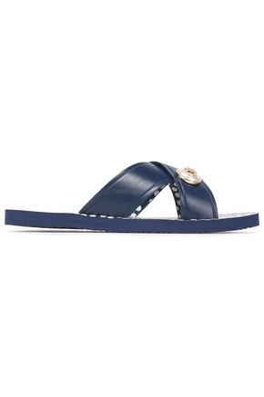 TORY BURCH Embellished rubber slides