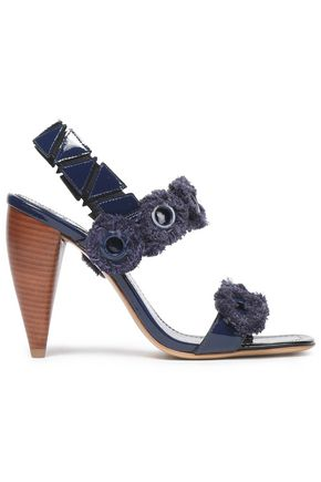 TORY BURCH Fringed embellished patent-leather sandals