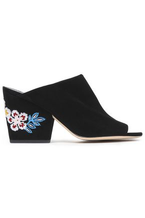 TORY BURCH Embroidered suede mules