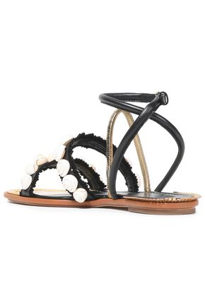 TORY BURCH Embellished fringed suede and leather sandals