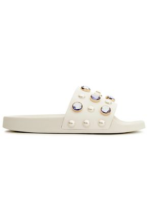 TORY BURCH Crystal and faux pearl-embellished leather slides