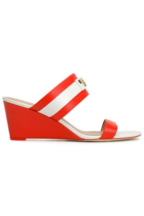 TORY BURCH Embellished two-tone leather wedge sandals