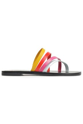 TORY BURCH Patos color-block leather slides