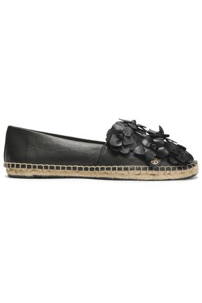 TORY BURCH Floral-appliquéd leather espadrilles