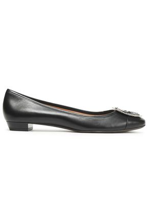 TORY BURCH Fringed embellished leather ballet flats