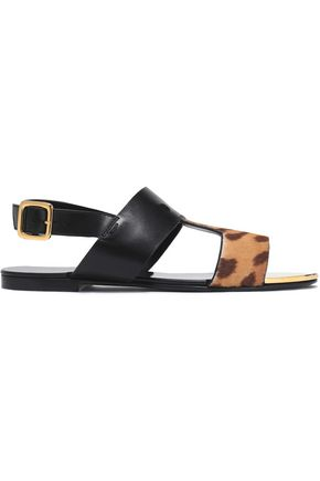 BALMAIN Leopard-print pony hair and leather sandals