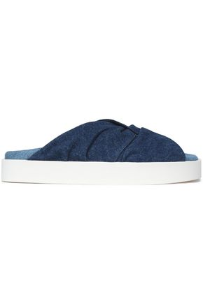 MSGM Twisted denim platform slides
