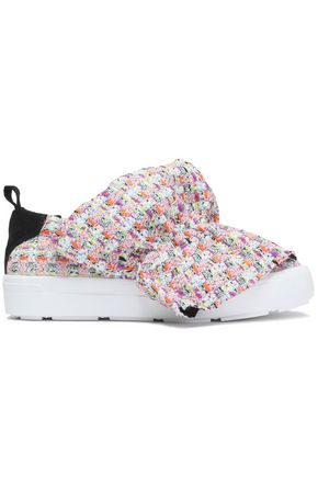 MSGM Gathered tweed and suede platform slip-on sneakers