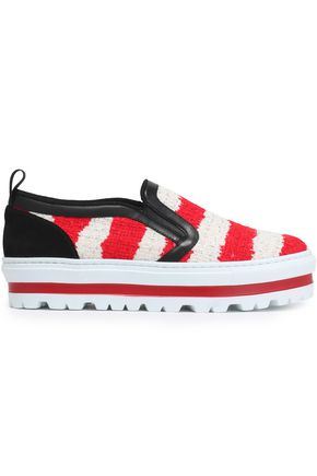 MSGM Leather and suede-trimmed striped tweed platform slip-on sneakers