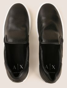 ARMANI EXCHANGE PERFORATED SLIP-ON LOGO SNEAKERS SLIP-ON [*** pickupInStoreShippingNotGuaranteed_info ***] e