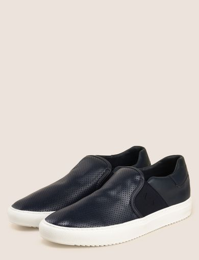 PERFORATED SLIP-ON LOGO SNEAKERS