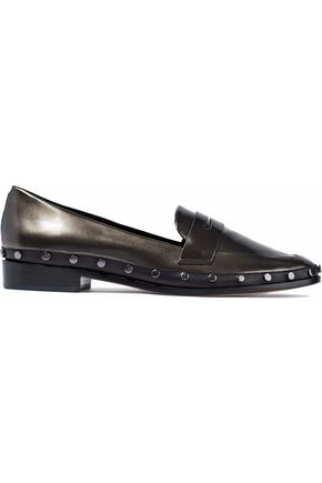 SCHUTZ Studded metallic leather loafers