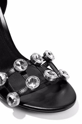 ALEXANDER WANG Crystal-embellished leather sandals
