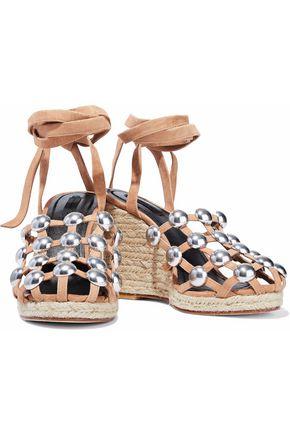 ALEXANDER WANG Taylor studded suede espadrille wedge sandals