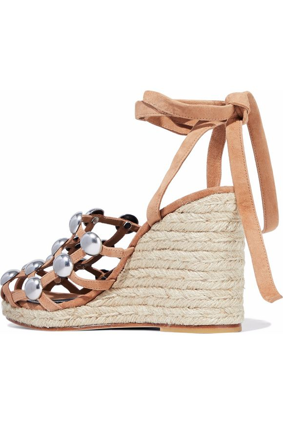 72c6ebf88f96 Taylor studded suede espadrille wedge sandals   ALEXANDER WANG ...