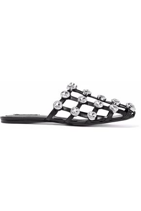 ALEXANDER WANG Crystal-embellished cutout leather slides