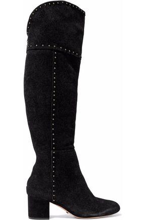 SCHUTZ Studded suede knee boots