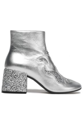 MM6 MAISON MARGIELA Cutout glittered metallic leather ankle boots