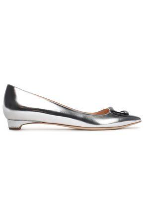 RUPERT SANDERSON Embellished metallic leather point-toe flats