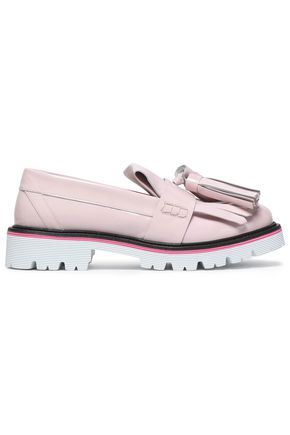 MSGM Tasseled fringed leather loafers