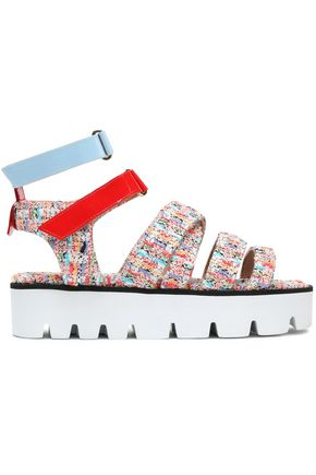 MSGM Strap-detailed tweed platform sandals
