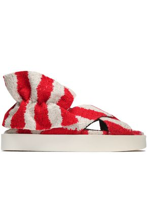 MSGM Gathered striped tweed sandals