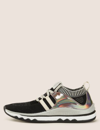 MIRRORED SOCK-KNIT LOW-TOP SNEAKERS