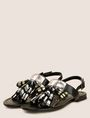 ARMANI EXCHANGE METALLIC TASSEL SANDAL Shoe Woman r