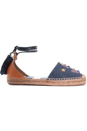 DOLCE & GABBANA Appliquéd denim and raffia-trimmed leather espadrilles