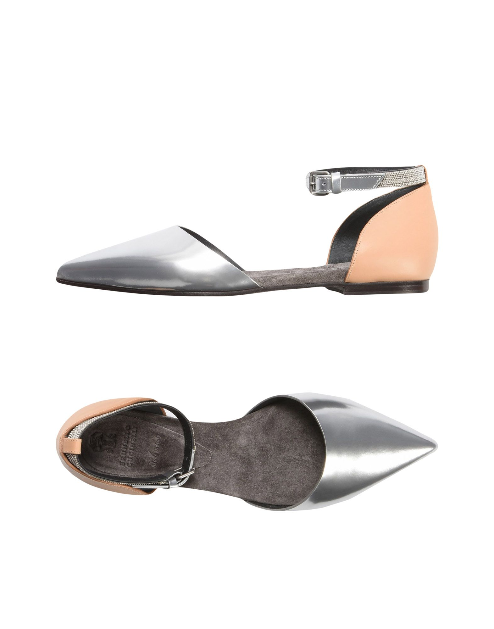 BRUNELLO CUCINELLI Ballet flats. laminated effect, metal applications, two-tone, buckling ankle strap closure, narrow toeline, flat, leather lining, leather/rubber sole, contains non-textile parts of animal origin. 100% Soft Leather