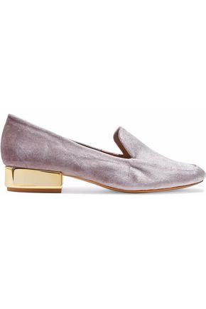 SCHUTZ Mirrored velvet loafers