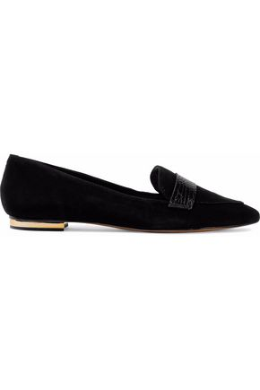SCHUTZ Suede and croc-effect leather loafers