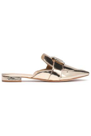 SCHUTZ Buckled metallic leather slippers