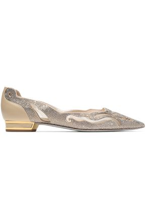 RENE' CAOVILLA Crystal-embellished leather and mesh point-toe flats