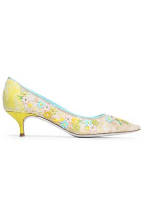 RENE' CAOVILLA Floral-appliquéd Chantilly lace pumps
