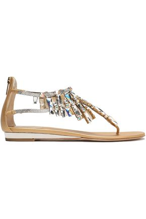 RENE' CAOVILLA Crystal-embellished metallic leather sandals
