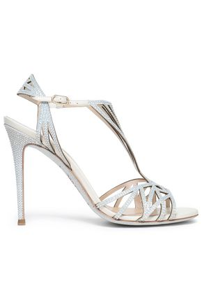 RENE' CAOVILLA Cutout embellished leather sandals