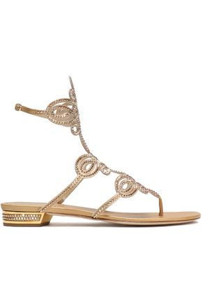 RENE' CAOVILLA Crystal-embellished cutout metallic satin sandals