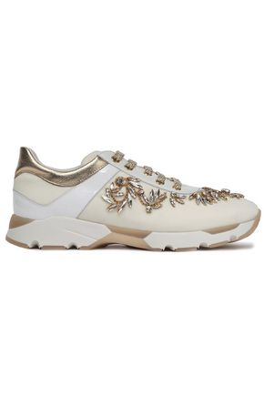 RENE' CAOVILLA Leather-trimmed embellished velvet sneakers