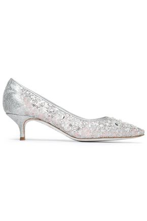 RENE' CAOVILLA Metallic embellished Chantilly lace pumps