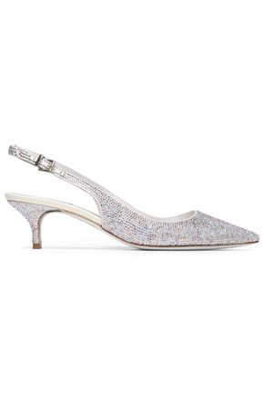 RENE' CAOVILLA Crystal-embellished leather slingback pumps